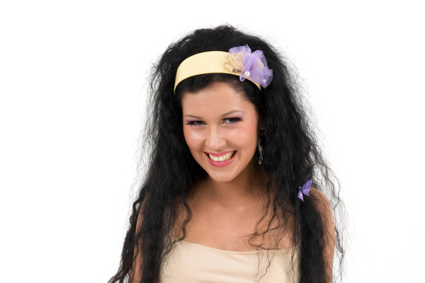 matching headband to keep long naturally curly hair off the face