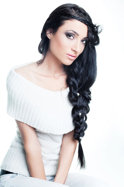 crown braid side ponytail