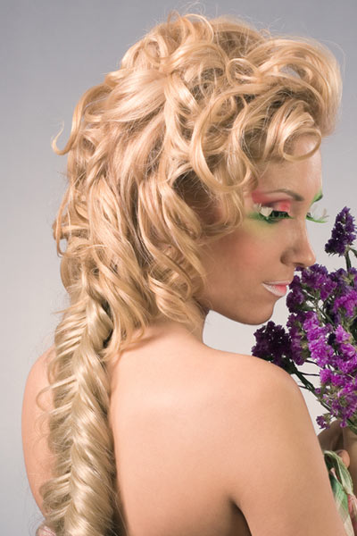 curly french fishtail plait updo