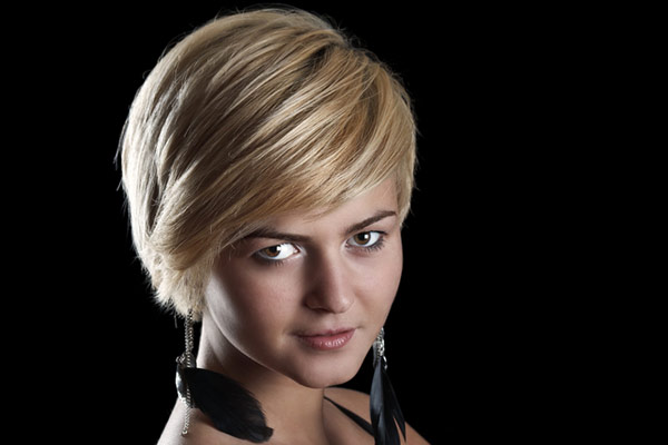 cute short hairstyle blonde hair