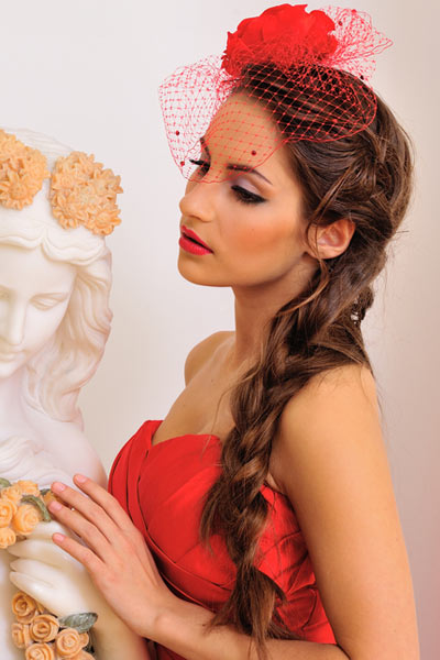 formal side braid fascinator