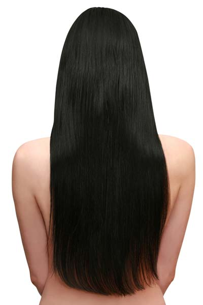 These long lustrous locks are cut straight across at the back. This ...