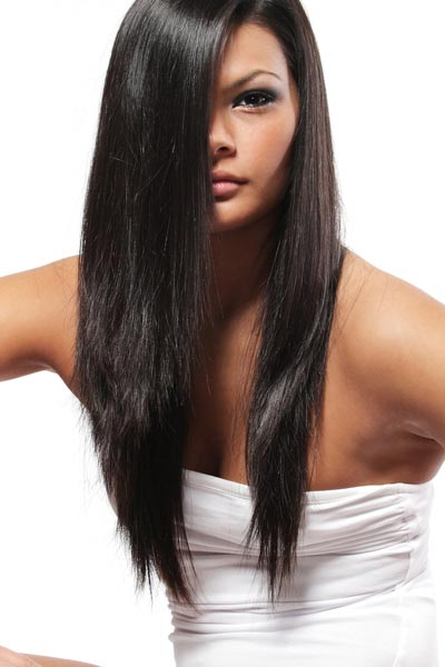 long layered hairstyles V shape