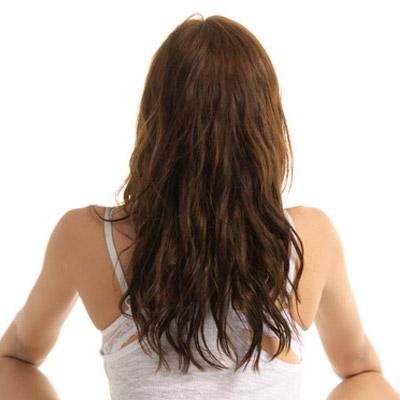 long wavy hair straight across back