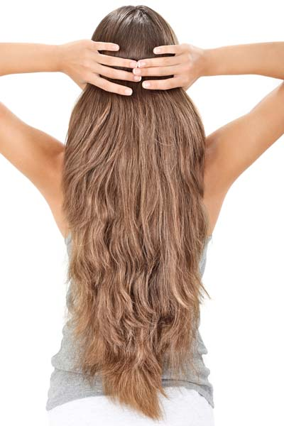 long wavy hairstyle V shaped back