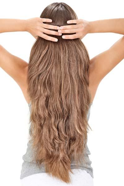 long wavy hairstyle V shaped back
