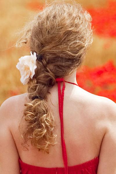 prom braid wavy hair flower