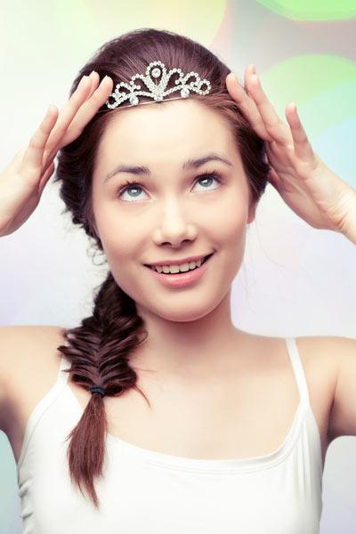 prom side fishtail braid tiara