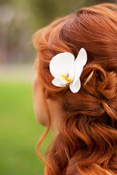 orchid flower in hair