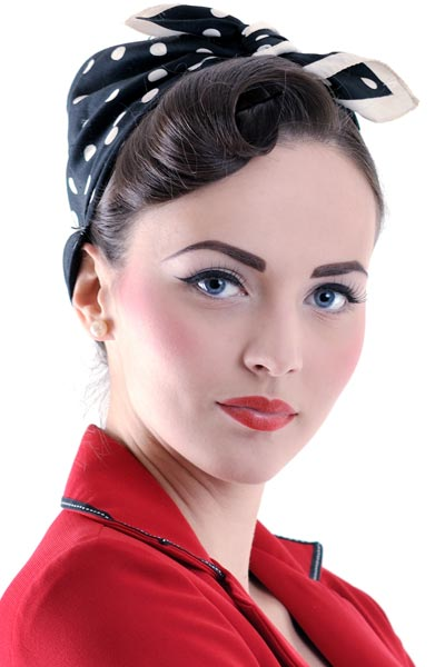 50s updo hairstyles : This rockabilly bandana look features a gorgeous rolled bangs . The ...