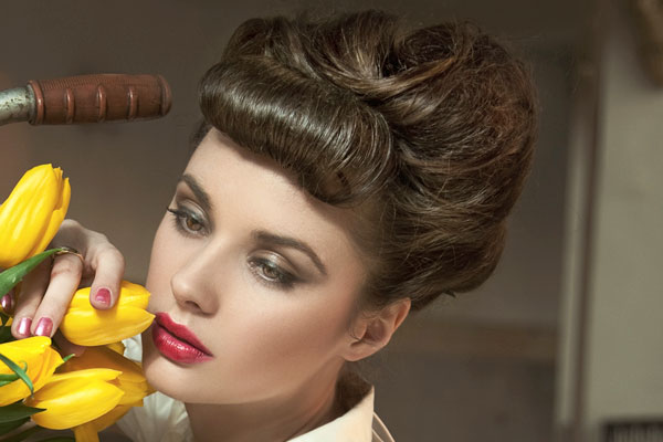vintage updo rolled bangs