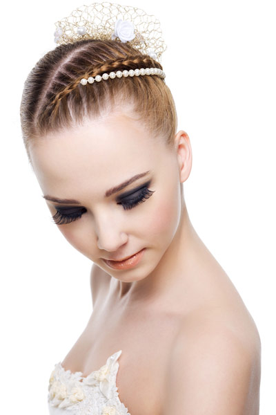 wedding hairstyle crown braid bun