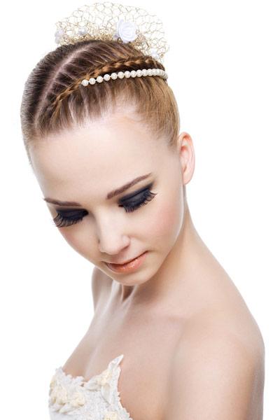 wedding hairstyle crown braid bun