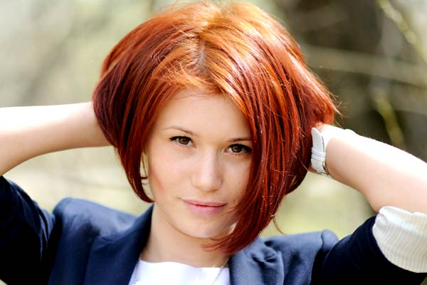 bob . This stunning chin length bob pairs bold shade of red hair ...