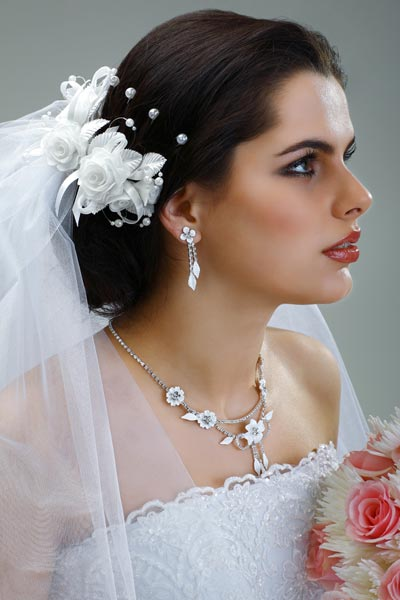 This bridal hairstyle is similar but the veil is worn over top of a ...