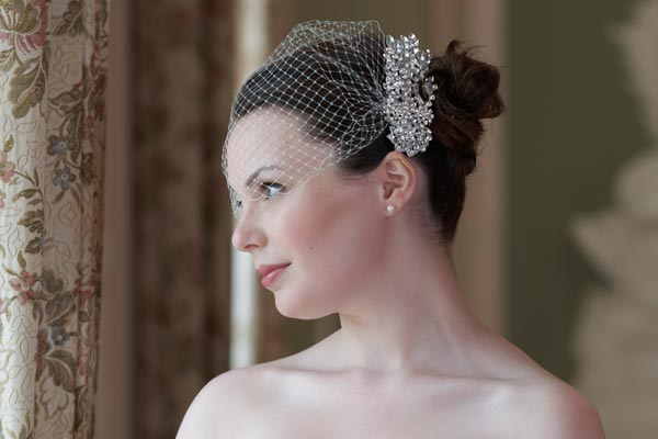 Wedding Hairstyle With Birdcage Veil
