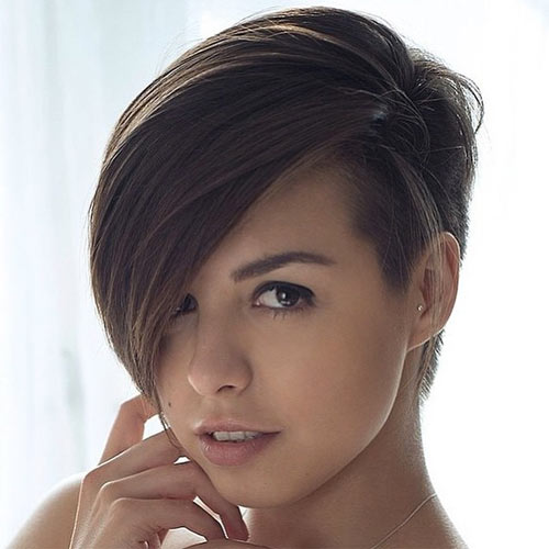 Pixie Haircut With One Side Shaved Layered Straight Short Hairstyles ...