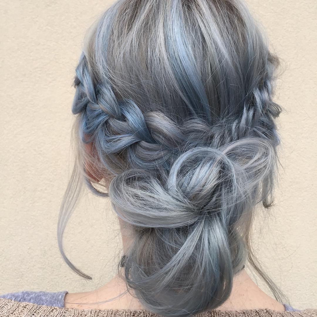 kellymccormickhair-blue-and-gray-hair-color-braided-updo
